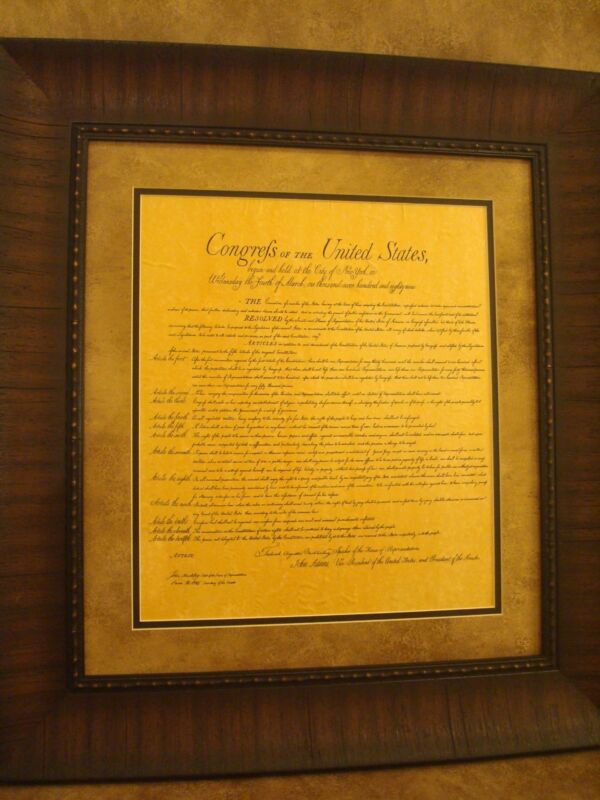 FRAMED THE UNITED STATES OF AMERICA BILL OF RIGHTS PRINTED PARCHMENT PAPER