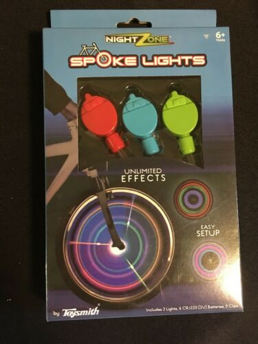 NIB NEW Night Zone Spoke Lights by Toysmith for Bicycle Whee
