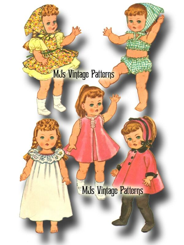 """Vtg 60s Toddler Little Girl Doll Clothing Pattern ~ 20"""" 21"""" Ruthie, Chatty Cathy"""