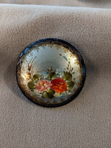 Handcrafted Lacquer Brooch Pin, Signed, Flower Bouquet