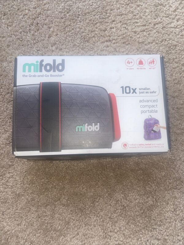 Mifold Grab And Go Car Booster Seat. Compact, Portable, convenient. Slate Grey