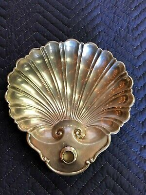 Silver Plate Dolphin Footed Clam Shell Shaped Appetizer Bowl Server Crescent 60s Silverplate Footed Bowl