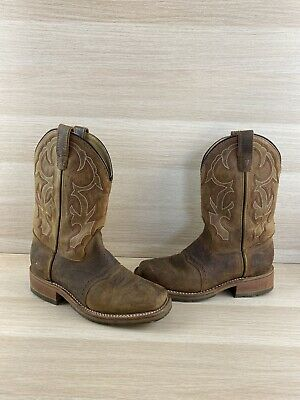 Double H ICE Roper Brown Leather Wide Square Toe Western Boots Men's Size 8 D