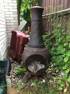 Back yard pot belly stove