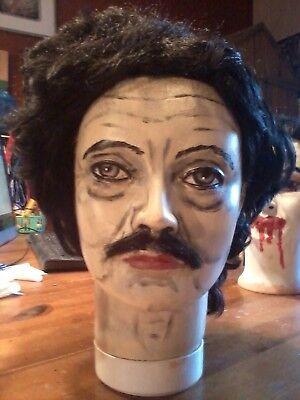 EDGAR ALLAN POE MANNEQUIN HEAD HALLOWEEN PROP LIFESIZE  - Halloween Mannequin Head