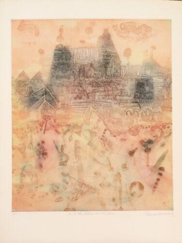 "Shoichi Hasegawa ""Chateau Sur La Coline"" original etching art"
