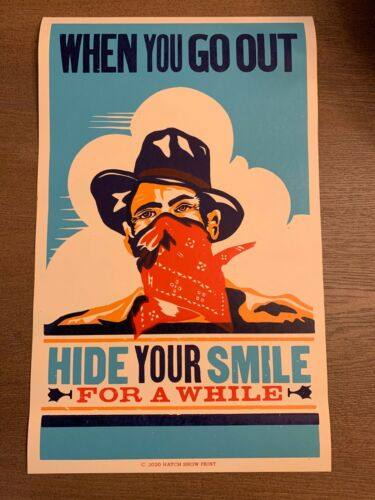Hatch Show Print - Cover Your Smile Poster (Not Avett Phish Willie) Ryman
