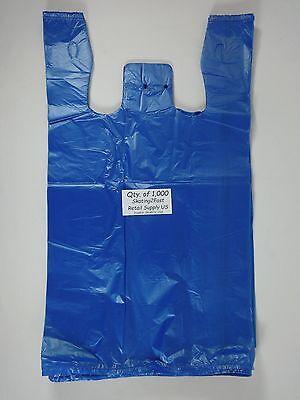 Blue Plastic T-shirt Bags W Handles 1000 Qty. 11.5 X 6x 21 Retail Shopping