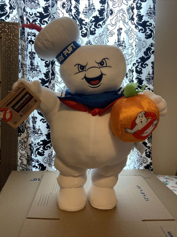 """2021 Ghostbusters Stay Puft Marshmallow Door Porch Greeter 22"""" Gemmy Plush"""