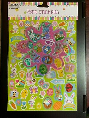 FUN EASTER STICKERS 76 PIECE SHEETS 3 COLORS! BONUS FOIL STICKERS HIDE IN EGGS! - Fun Coloring Sheets