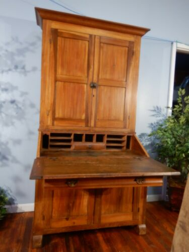 American Empire Primitive Secretary Desk Rustic w/ Bookcase top