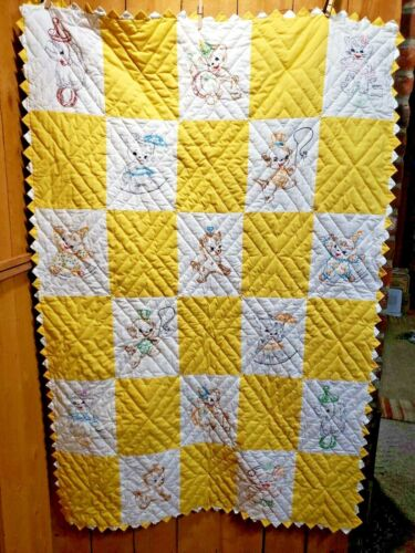 """Vintage Embroidered Cotton Baby Quilt- Handmade-Circus Animals-38"""" x 58"""" Yellow"""