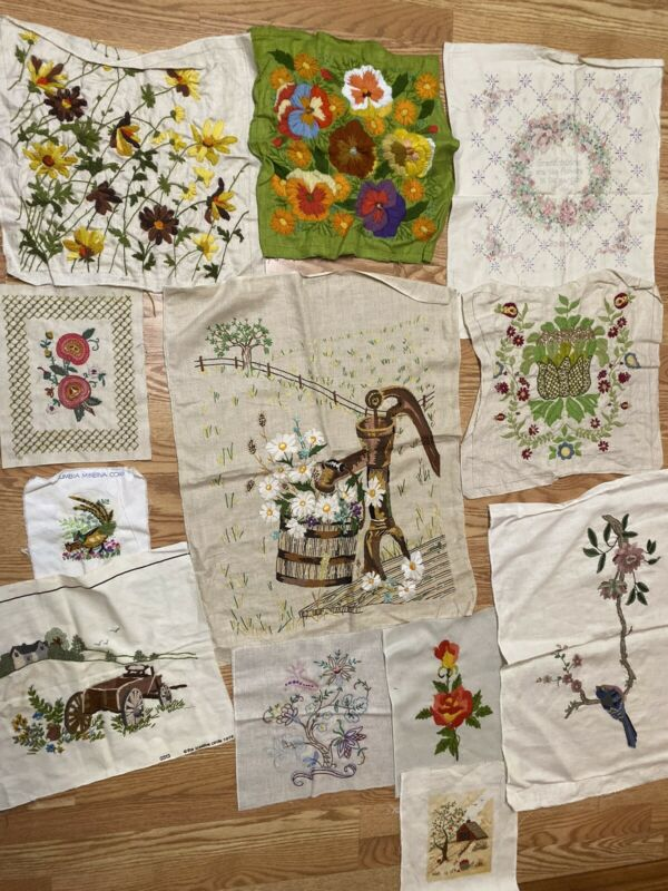 Vintage CREWEL EMBROIDERY COMPLETED LOT of 12 pieces-CROSS STITCH UNFRAMED