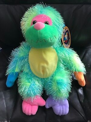Rainbow Monkey Plush Green Blue Color Scheme 13 inches - Rainbow Monkey Plush