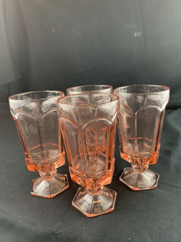 Pink Footed Glassware Beverage Goblets (red E)