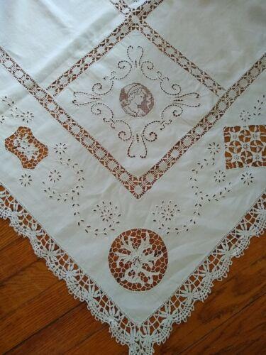 Vintage Antique Needle Lace Linen Tablecloth / Unusual
