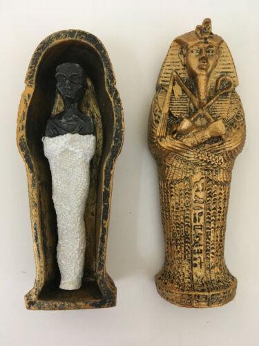 King Tut Coffin with Mummy Tutankhaman Egyptian Egypt Figurine Statue