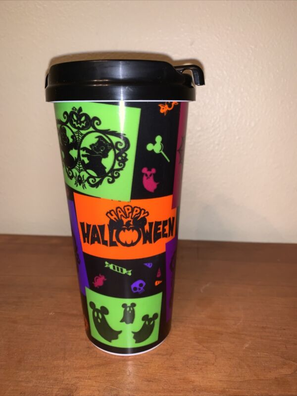 DISNEY WORLD PARKS Whirley Travel Mug Cup HAPPY HALLOWEEN Mickey Mouse
