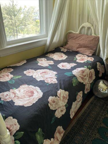 Pottery Barn Emily Meritt BED OF ROSES TWIN Black/Pink Cotton Duvet Cover - $49.00