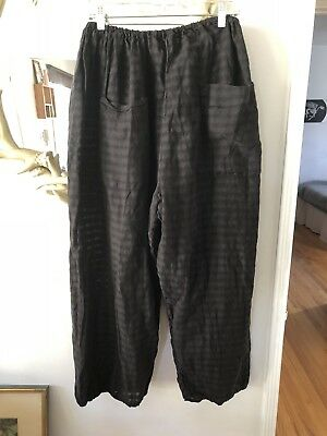 EUC Vtg 90s GRAU Black SEMI-SHEER Checkerboard PLAID Lagenlook PALAZZO Pants OS