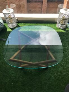 Western Coffee Table - Glass and wood