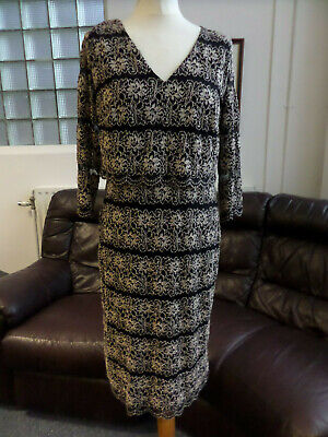 Per Una M&S Gold & Black Lace Scallop Dress Size 14
