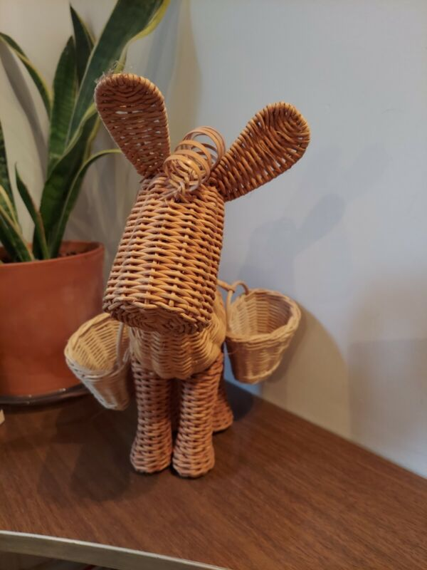 Vintage  Natural Wicker Donkey  Horse Mule Ass Basket 12 inch tall