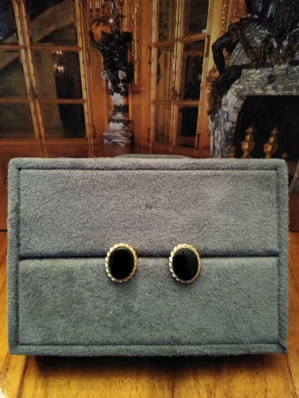 Black Onyx Earrings Stamped 14K