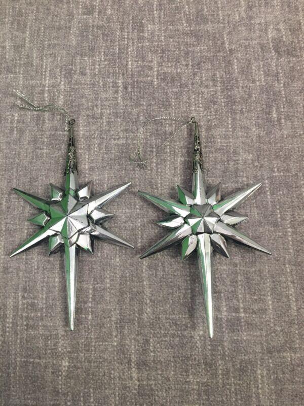 2 Hard Plastic Star Decorative Metal Christmas Ornaments