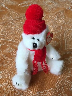 Ty Attic Treasures Peppermint Fluffy White Jointed Bear, Red Knitted Hat & Scarf