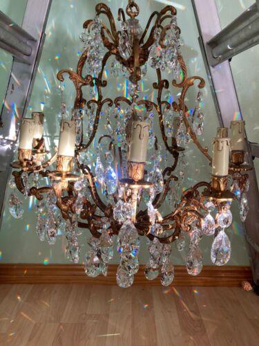 "Spanish Antique 10 Light Crystal Chandelier Teardrops Cascade Gold  30""H+ x 21""D"