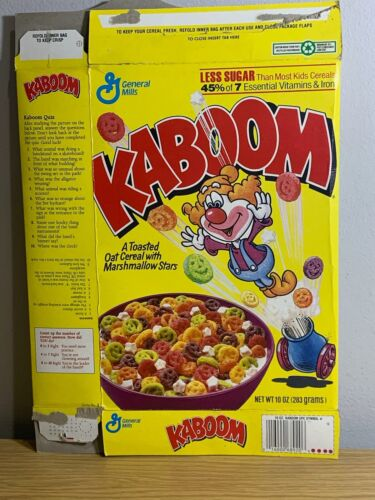 Kaboom Empty Cereal Box from 1990