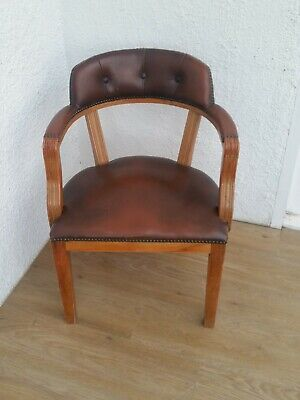 VINTAGE BROWN LEATHER CAPTAINS SOLID WOOD OFFICE DESK CHAIR