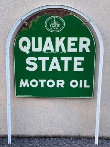 Original Vintage Quaker State Motor Oil 2 Sided Gas Station Metal Sign W/Stand