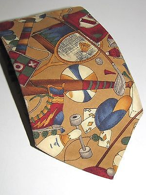(American Eagle Sports Necktie 100% Cotton Sports Equipment On It USA Made 56