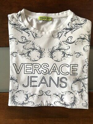 Versace Jeans Men's White Graphic Short Sleeve Crewneck T-Shirt