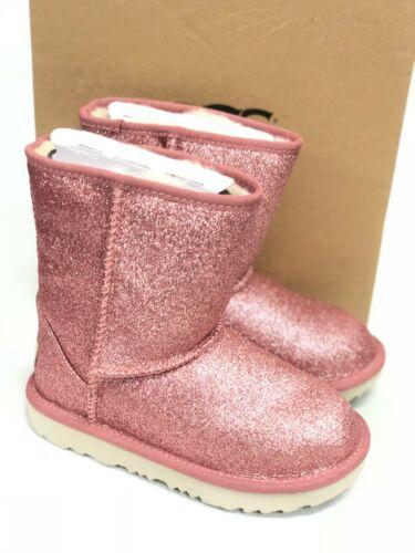 UGG Girls Toddler Kids Classic Short II Glitter Pink Boots 1098491T 1094891K