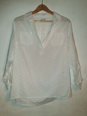 GAP vintage style Fold-up Sleeve Broderie Anglaise Eyelet Blouse Top White Small