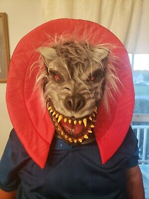 Latex Mask Dress Up Scary Grey Wolf Red Eyed Sharp Teeth With Red Collar
