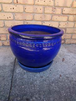 Glazed Blue Garden Pot 45cm wide, pick uo Florey