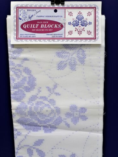 """6 Vintage Quilt Blocks ROSES & LEAVES Stamped to Embroider NEW 18"""" Nojae * USA"""
