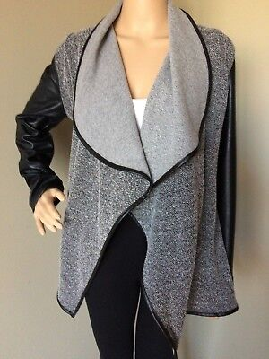 JACK Women's Medium Black Faux Leather Sleeves Open Front Draped Knit Jacket