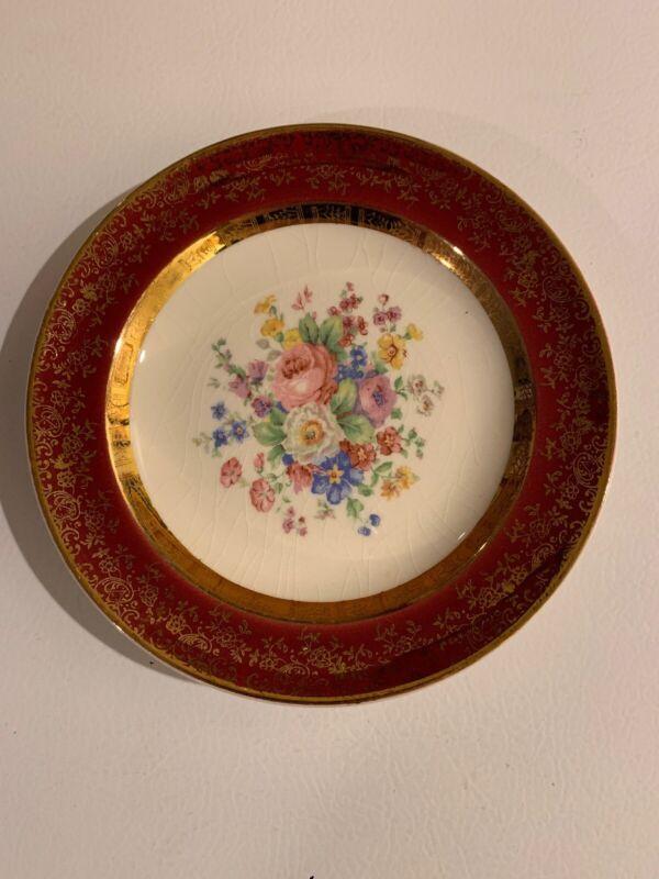 Vintage China Plate Maroon Flowers 23 Karat Encrusted Gold Century By Salem