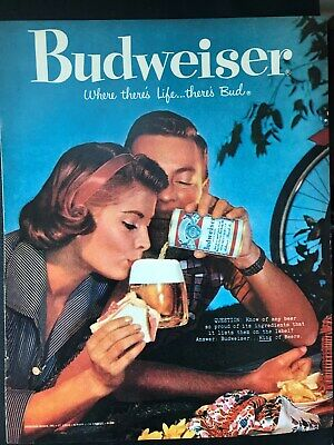 Budweiser~Beer~Woman~Red Head~Picnic~Bicycle~Cold Bud~1959 Vintage Print AD A14