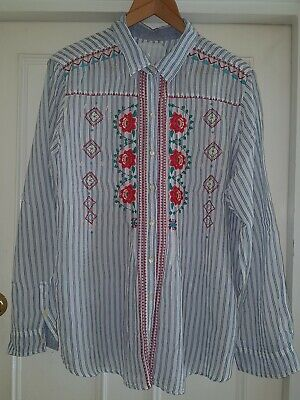 3J Workshop  Johnny Was - Striped and Embroidered Soft  Cotton Shirt - XL - RR