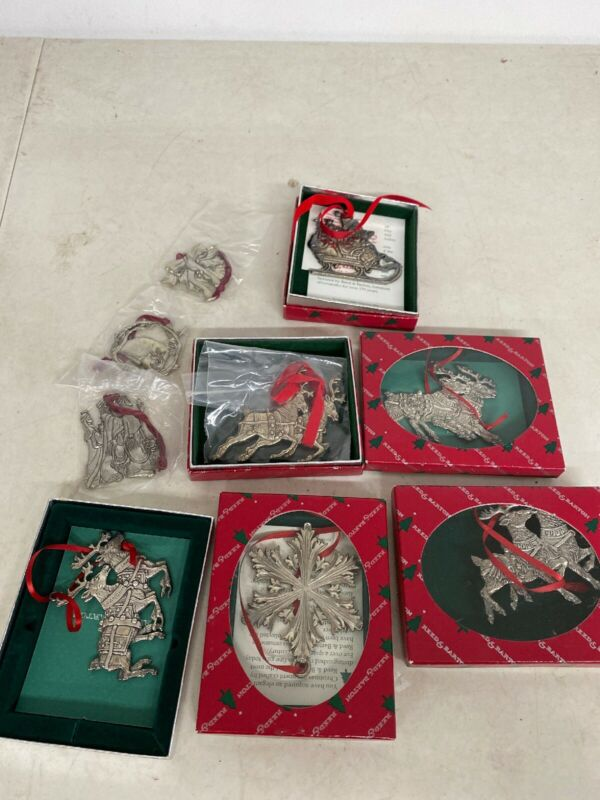 (2) Reed & Barton Santa's Reindeer Christmas Ornaments W/ Box