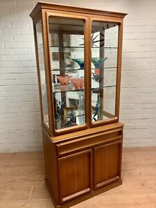 SOLD~Retro midcentury Teak Chiswell glass display cabinet / cupboard