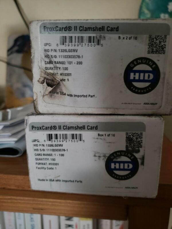 HID 1326 ProxCard II RF Ideas Prox Clamshel Card 26Bit F:H10301 FC:183 RFID