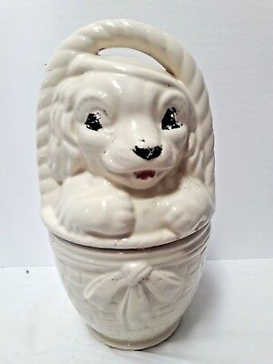 Vintage 1930s American Bisque Puppy Dog In A Basket Cookie Jar Patent Pending