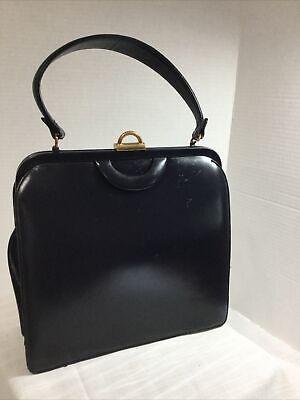 1950s Handbags, Purses, and Evening Bag Styles Vintage Bienen-Davis structured handbag 1950's modernist Purse Dark Blue/black $29.99 AT vintagedancer.com